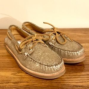Sperry Top Sider Gold Leather Boat Shoes
